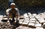 Mud bricks being made for traditional home by Reinhold Loeffler