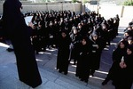 Girls queued at girls' high school in Boir Ahmad by Reinhold Loeffler