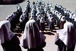 Beginning of school day at girls' elementary school in Boir Ahmad by Reinhold Loeffler