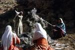 Women carding wool, Boir Ahmad by Reinhold Loeffler